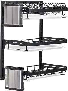 uyoyous - Escurreplatos de acero inoxidable de 3 niveles, escurridor de vajilla, escurridor de platos, soporte para palillos, cuchillos, color negro