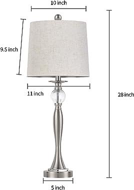 BOBOMOMO USB Metal Crystal Table Lamp 28'' Set of 2 Modern Living Room Bedroom Nightstand Desk Lamp(Silver)