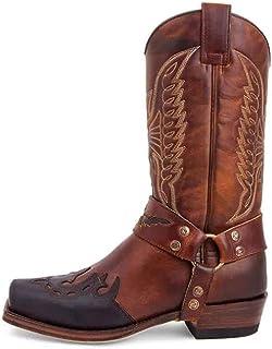 PLAYH Hommes Western Cowboy Knight Bottes Fermeture Éclair Latérale Bottes Hautes Vintage Broderie en Cuir Bottes Longues ...
