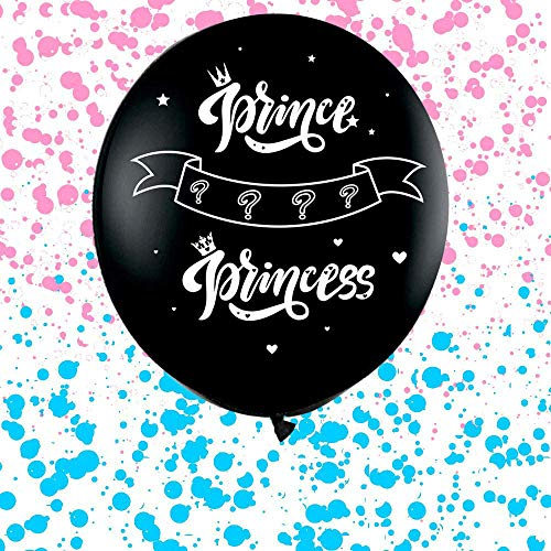 CY Mylar 36 Inch Baby Gender Reveal Confetti Balloon, Big Black Balloons with Pink or Blue Confetti Packs for Boy or Girl - Baby Shower Gender Reveal Party Supplies Decoration Kit (Pink/Girl)