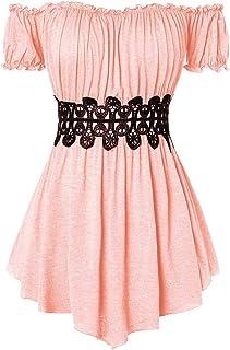 YOcheerful Women Elegant Tops Ladies Short Sleeve Shirts V Neck Plaid Panel T-Shirt Casual Top Blouse