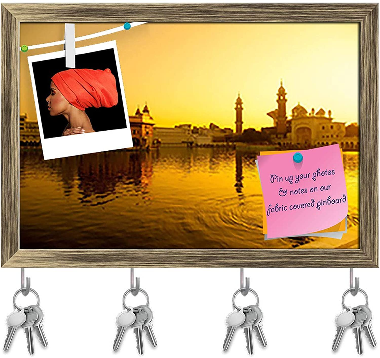 Artzfolio golden Temple in Amritsar India Key Holder Hooks   Notice Pin Board   Antique golden Frame 17.6 X 12Inch