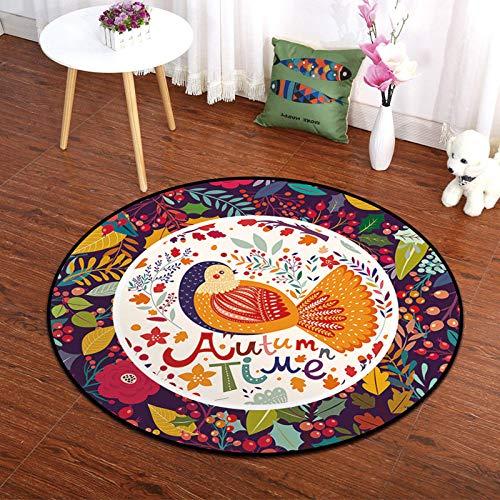 YQZS Runder Teppich Teppich Start Teppiche Wohnzimmer orangener Vogel Einfache Computer Stuhl Couchtisch Nachttisch Teppich,Durchmesser120cm
