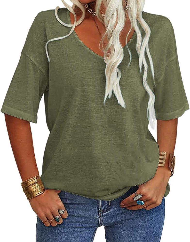 shopping Danedvi Women Fashion V-Neck Half Max 52% OFF Sleeves Shirt Solid L Casual T