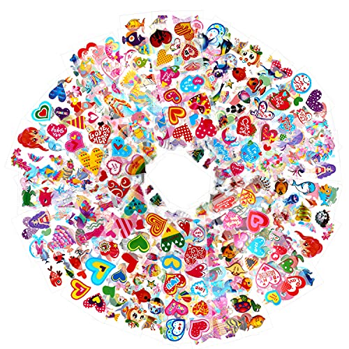 HOWAF 1000+ Pegatinas Pack para Infantiles, 48 Hojas Diferentes 3D Pegatinas Hinchada Animale Marinos Sirena Corazón para Infantil Cumpleaños Regalo Recompensa Album Scrapbooking Manualidades