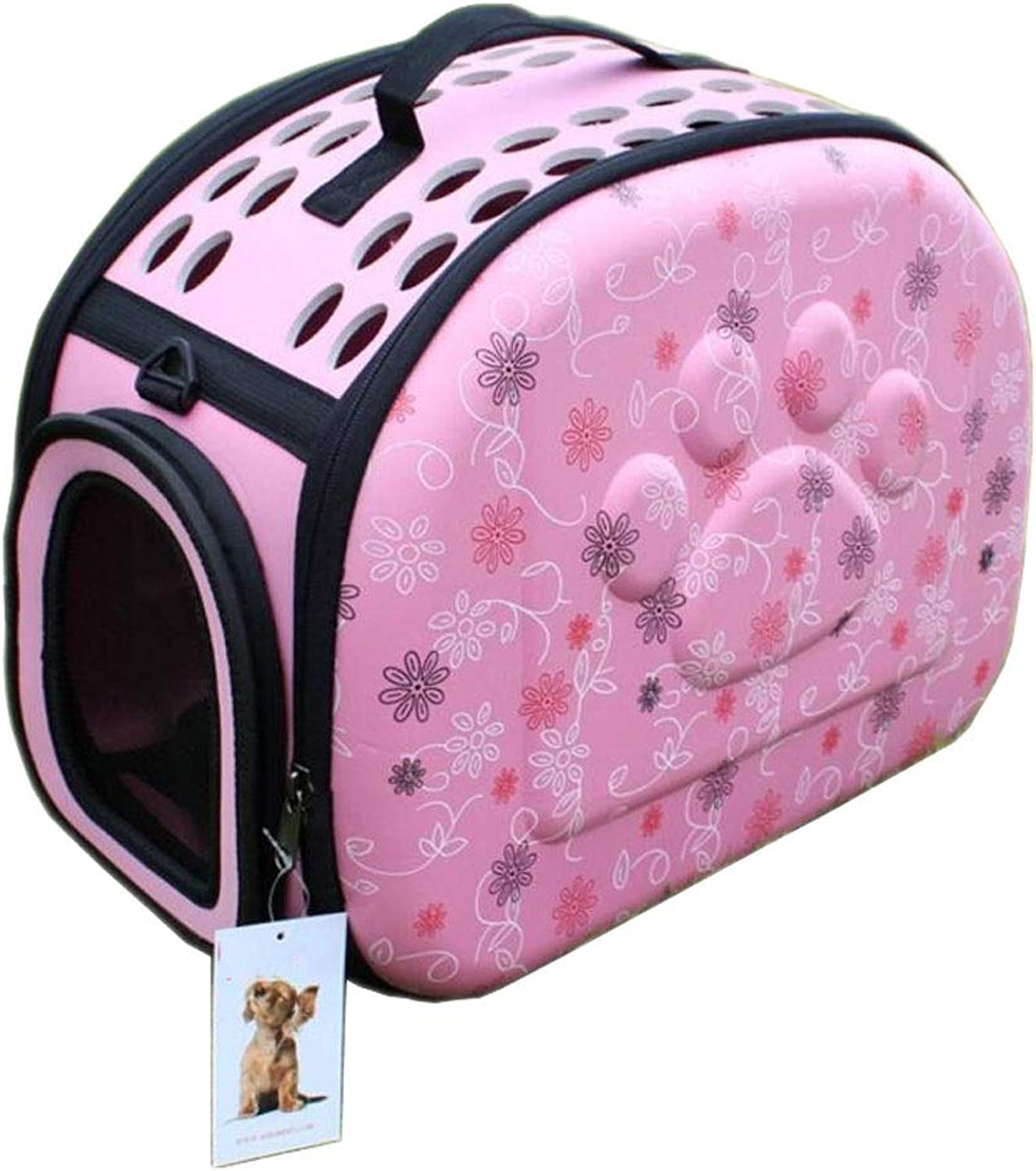 Flower Figure Pet Box Folding Cage Cat Dog Portable Diagonal Travel Transport Car Out of The Consignment 3 color 43  29  35cm MUMUJIN (color   Pink)