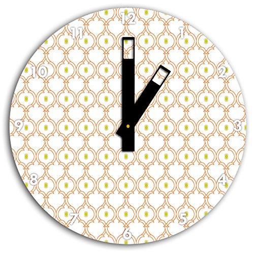 Motif vigne entrelacée avec noyau vert, horloge murale diamètre 30 cm avec aiguilles et cadran carrés noirs, article décoratif, horloge design, composite alu très belle pour le séjour, la chambre d'enfant, le bureau