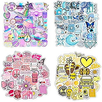 200 Stickers  50-600Pcs/Pack  Water Bottle Laptop Decals VSCO Aesthetic Hydroflask Stickers for Girls Adults Cool Girly Sticker Blue Pink Yellow Purple Stickers for Helmet Laptops Bike Luggage