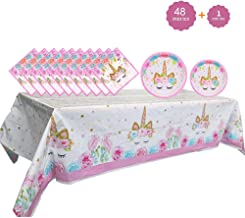 Unicorn Party Supplies Set - Unicorn Plates and Napkins Table Cover   Magical Unicorn Birthday Party Decorations for Girls and Baby Shower - Serves 16