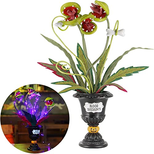 """new arrival Twinkle Star Halloween Decorations, 18.5"""" Lighted Table Artificial Flowers, Halloween Ghoulish Garden Succulent Piranha Plant Corpse sale Flowers, Horror outlet online sale Biting Blossoms Centerpieces Tabletop Decor online"""