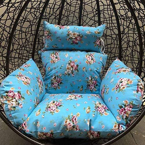 Wyjw kussen voor hangmand, kussen voor schommelstoel, vogelnest, met hoofdkussen, hangmat, patio, dik, tuinstoel, achter om op te hangen, mat (kleur: O)