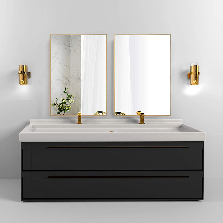 Buy Beautypeak Wall Mirror 24 X 36 Bathroom Mirror With Metal Frame Rectangle Hanging Mirrors Set For Living Room Bedroom Bathroom Entryway Hangs Horizontal Or Vertical Gold Online In Hong Kong B08ks648rw