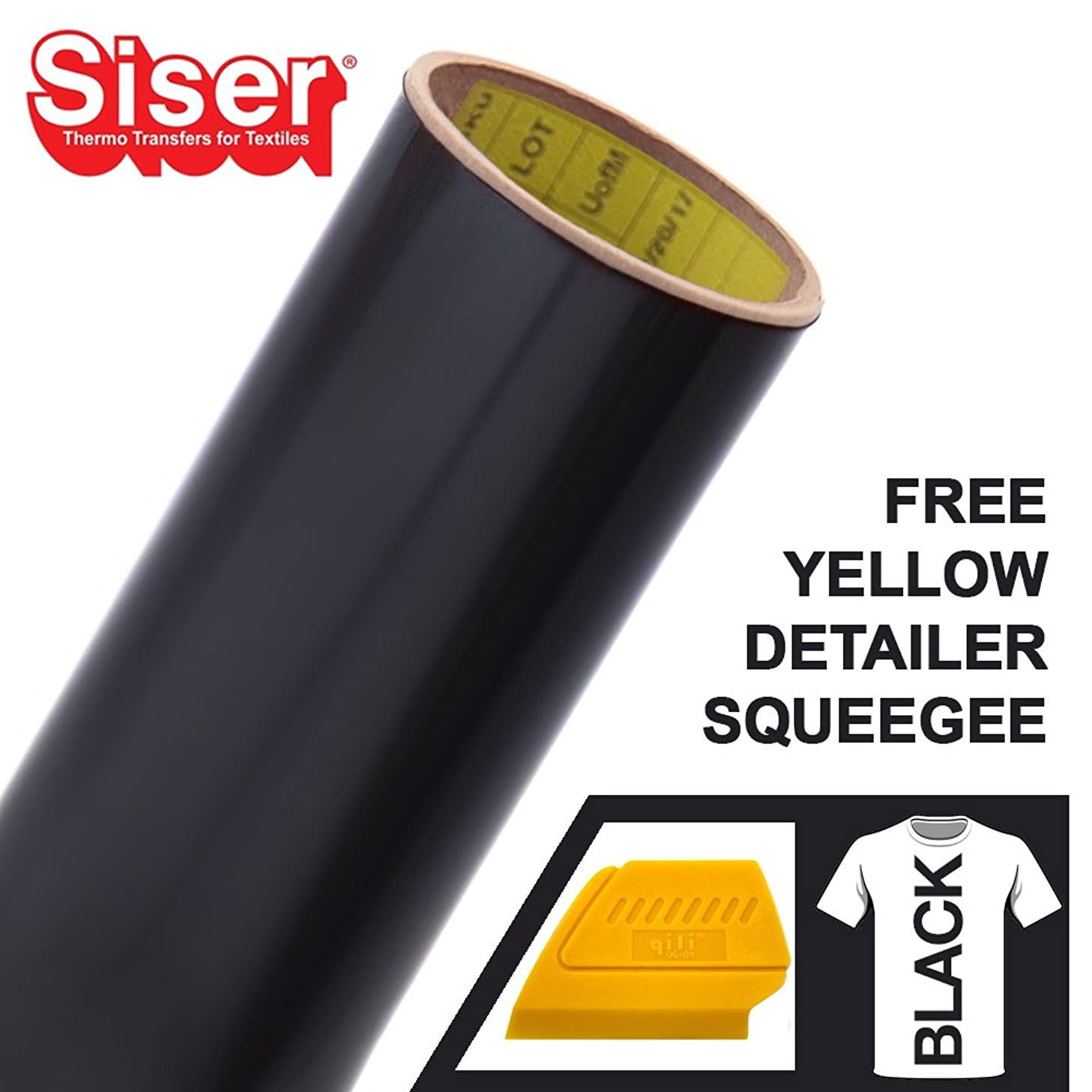 Siser Easyweed Heat-Transfer Vinyl Including Hard Yellow Detailer Squeegee (6ft x 10