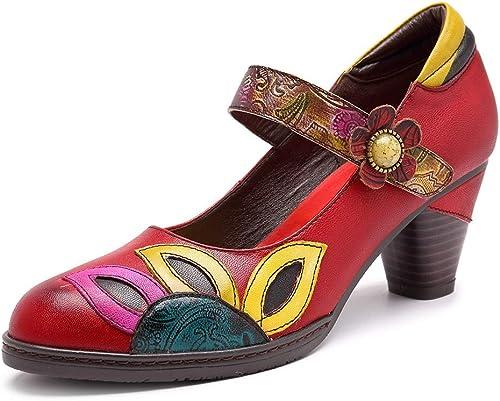 Easy Go Shopping Chaussures Chaussures pour Femmes Fait Main en Cuir Plante Mary Jane quitte Totem Vintage Sandales à Boucle bohème Chaussures de Cricket (Couleur   rouge, Taille   41EU)  marques en ligne pas cher vente