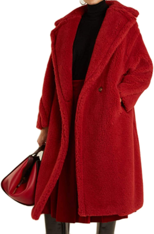 Baeuty Women's VNeck OffTheShoulder Thick Coat Loose Lamb Fur Coat