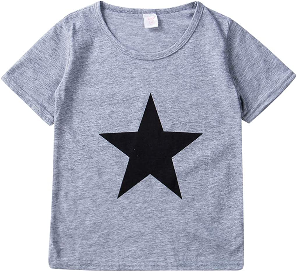 Toddler Boys Tee Shirts Casual Short Sleeve Star Print T Shirt Tops Summer Clothes