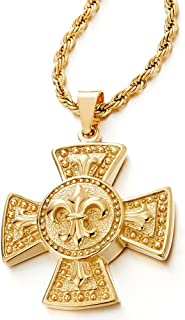 COOLSTEELANDBEYOND Stainless Steel Gold Color Mens Fleur de Lis Celtic Cross Pendant Necklace with 30 inches Rope Chain