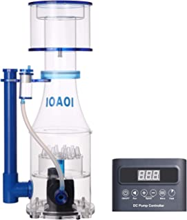 IOAOI Protein Skimmers for Saltwater Aquariums up to 210 Gallons Fish Tank Cast Acrylic Protein Skimmer Ultra Quiet Needle Pinwheel DC Pump 20W for Big Tank Water Flow and Air Flow Adjustable