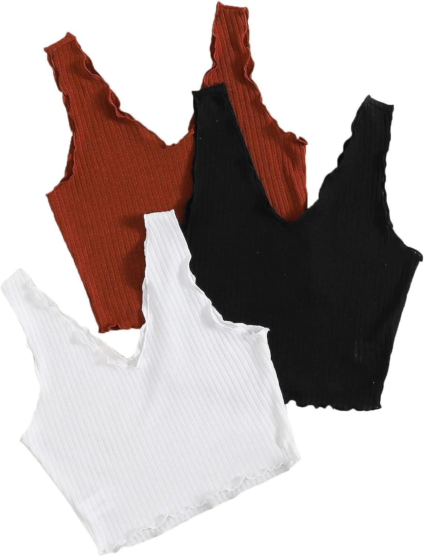 Milumia Women's 3 Pieces V Neck Ribbed Knit Lettuce Trim Soft Crop Tank Tops Set