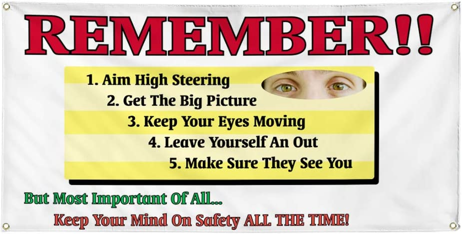 Vinyl Banner Multiple Sizes Remember Keep Your Mind on Safety Business Industrial /& Craft Outdoor Weatherproof Industrial Yard Signs White 10 Grommets 60x144Inches