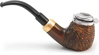Mr. Brog Full Bent Smoking Tobacco Pipe - Model No: 21 Old Army Walnut Rusticated - Pear Wood Roots - Hand Made