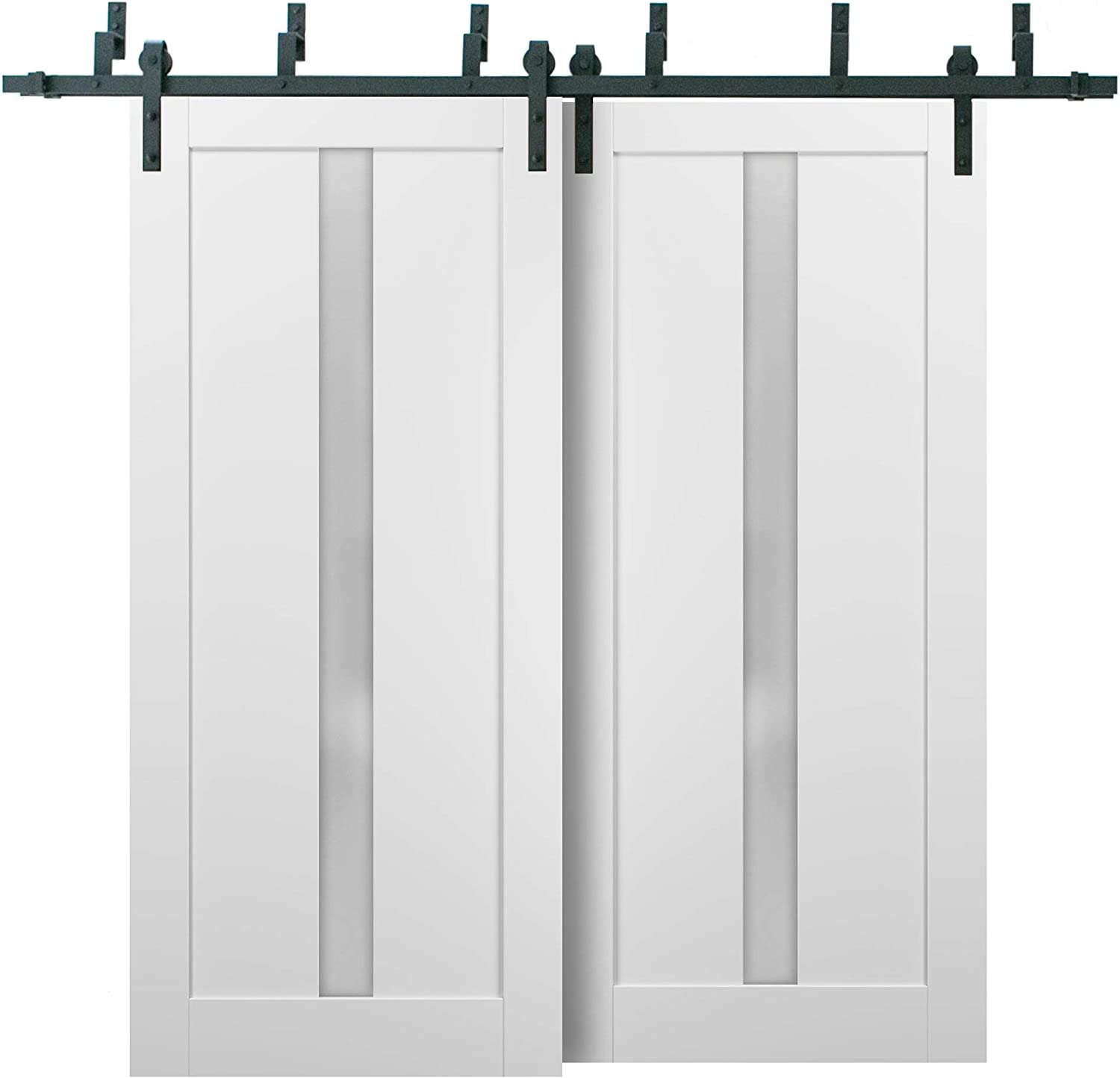 Barn Bypass Doors 60 x 84 Whit 6.6ft with Miami Mall Quadro Excellence 4112 Hardware