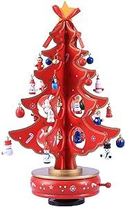 NANIH Home Árbol de Navidad Caja de música Tablero Mini Árbol de Navidad Diseño de Mecanismo de relojería Decoración de Mesa de Navidad (Rojo)