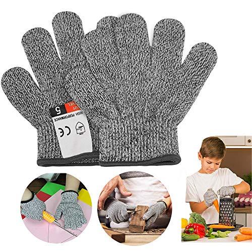 Schnittfeste Handschuhe für Kinder, Schnittschutzhandschuhe Küchenhandschuhe mit Hoher Schnittschutz der Leistungsstufe 5, Lebensmittelecht (XS(8-12 Jährige))