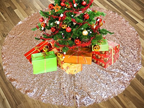 AK-Trading 52' Rose Gold Christmas Sequin Tree Skirt - Sparkly Glittery Sequin Xmas Tree Skirt - Made in USA