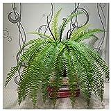 Hibeilinq 15 hojas dejan suave arbusto Pérsico artificial helecho de plástico...