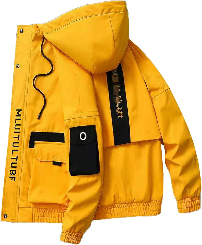 Tealun Spring Autumn Patchwork Streetwear Jackets Men Big Size Hooded Casual Loose Print Windbreaker Male Hip Hop Coat