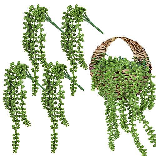 Whaline Künstliche Hängepflanze, Perlenschnur, Sukkulenten, hängende Weinrebe, Liebe, Tränen, Korb, Pflanze für drinnen und draußen, Hochzeit, Party, Zuhause, Garten, Wanddekoration, 35,7 cm lang