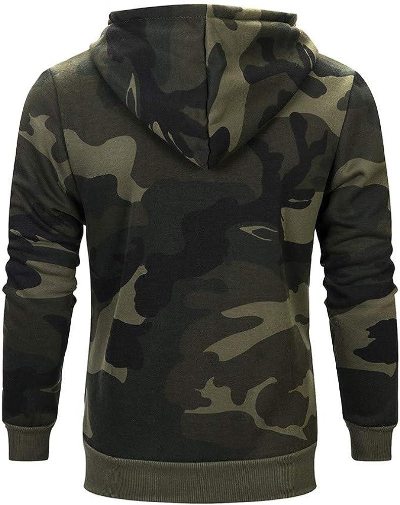 Men Hoodies Camouflage Loose Long Sleeve Sweatshirt Casual Pullover Workout Sports Sweater Hoodies