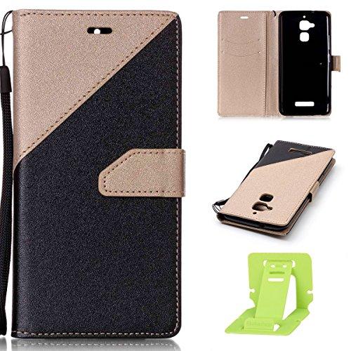 Ekakashop kompatibel mit ASUS Zenfone 3 Max Leder Hülle ASUS Zenfone 3 Max Premium Vintage Tasche Hüllen Retro Mischfarben Schwarz + Gold Leder Brieftasche kompatibel mit ASUS Zenfone 3 Max ZC520TL