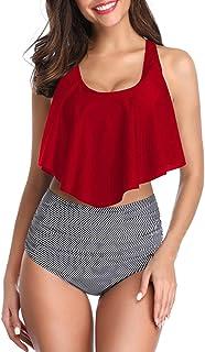 Ugitopi Trajes de Baño Ajustables de Cintura Alta para Mujer, Bikinis Trajes (Red Stripe,M)