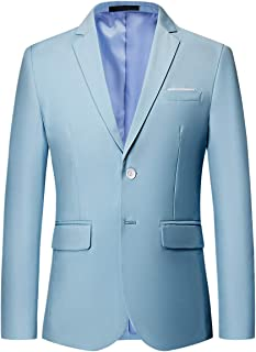 Mens Suit Jacket Slim Fit Single Breasted Two Button 10 Colors