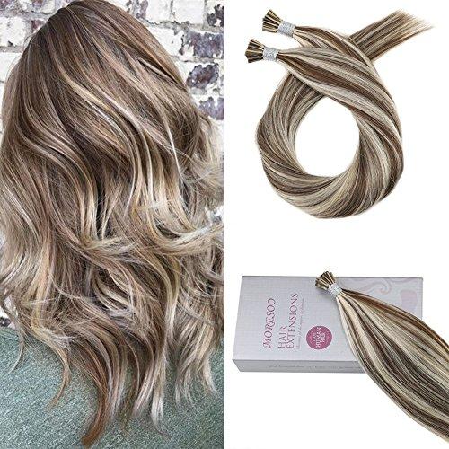 Moresoo Fusion Hair Extensions de Cheveux Naturels 16 Pouces #9A Brun Melanger avec #60 Blond Platine Pre Bonded Keratine I Tip Hair Extensions 1g/mèche 50g/paquet