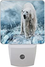 ALAZA White Polar Bear on Frozen ice Plug-In LED Dusk to Dawn Sensor Night Light, Cool-Touch Design Wall Light for Bedroom Kitchen Hallway Stairway or Any Dark Room