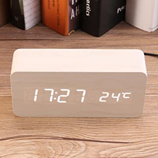 Voice Activated Induction Digital Clock, Multi-Functional Wooden Clock, Alarm Clock, Electronic(White Wood + White Light)