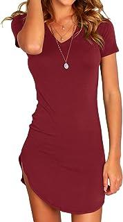 فستان قصير قصير الأكمام من Karlywindow للنساء ضيق غير منتظم وبحاشية قصيرة