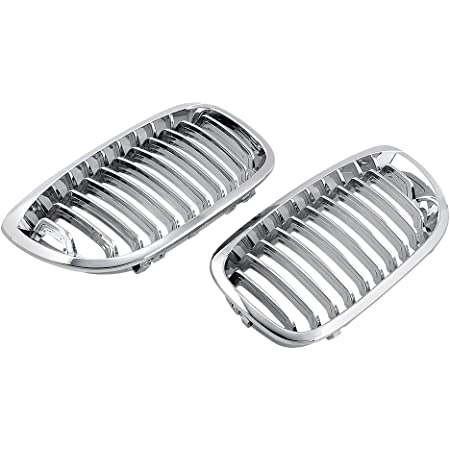 Chrome Left and Right Front Hood Kidney Grille Grill Compatible with 2003 2004 2005 2006 E46 3 series Coupe Cabriolet 2-Door LCI Facelift