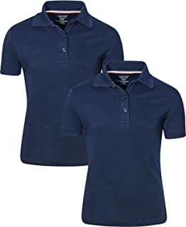 French Toast Girls Short Sleeve Stretch Pique Polo Shirt 2 Pack Navy Large(10/12)