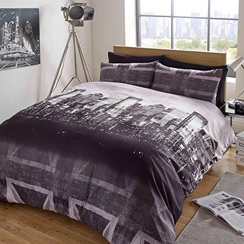 Dreamscene – Gorgeous Skyline impresión funda de edredón de juego de cama, Gris y Morado, King