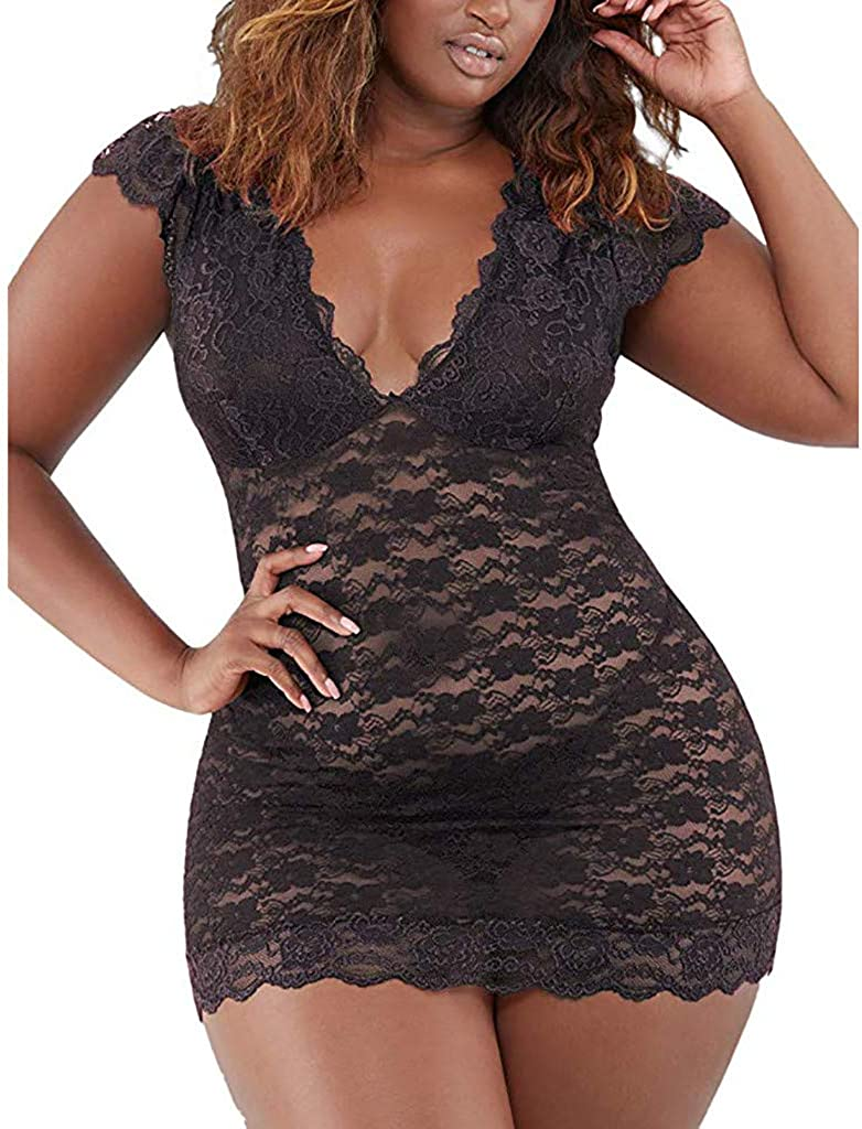 iQKA Women Sexy Lace Lingerie Babydoll Short Sleeve Deep V Plus Size Bodysuit Sleepwear Underwear Nightwear S-XXXL