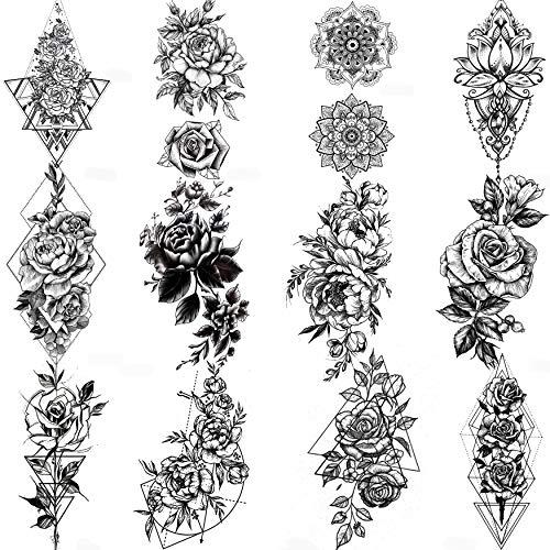 COKTAK 12 Blätter Schwarz Skizzieren Blumen Temporäre Tattoos Frauen Sexy Skizze Rose Pfingstrose Mandala Blume Fake Tattoos Mädchen Wasserfest Temporary Tattoos Zum Aufkleben Auf Die Haut Set Kit