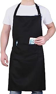 پیش بند آشپزخانه قابل تنظیم ویل ، بسته بند قابل تنظیم آشپزخانه با 2 جیب زن آشپز زنانه ، آشپزخانه ، سیاه و سفید