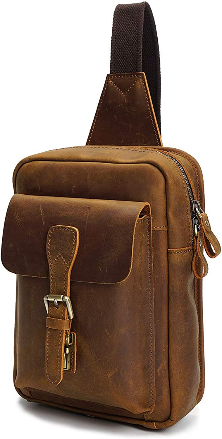 Real Leather Cross Body Sports Backpack Flight Pouch Chest Bag H8053 Tan