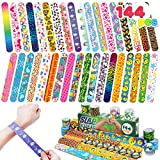 144 Pcs Slap Bracelets Wristbands with Emoji, Animals, Friendship, Heart Print Design, for kids Valentine's Day Party Favors, Classroom Prizes Exchanging Gifts
