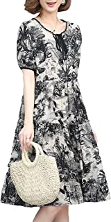 Women Casual Loose Plus Size Dress Floral Vintage Short Sleeve Dress غير رسمي (Color : Black, Size : XXL)