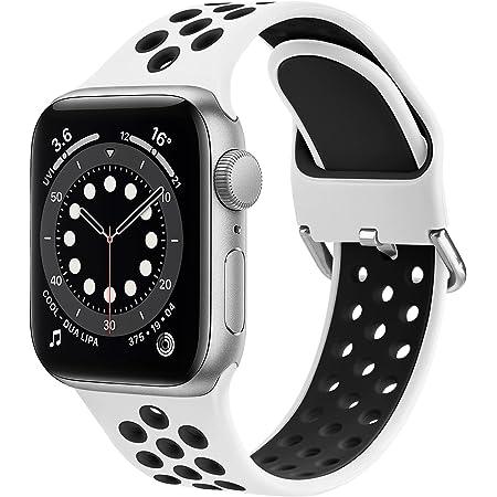OBABA Silicona Correa Compatible con Apple Watch 44mm 42mm 40mm 38mm,Pulseras de repuesto Deportivo Transpirable Suave Silicona para iWatch Series 6 5 4 3 2 1 SE